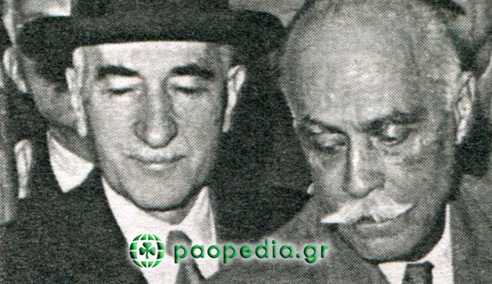 Στα αριστερά, ο Ιωάννης Μοάτσος (τότε αντιπρόεδρος του Παναθηναϊκού και μετέπειτα πρόεδρος). Ήταν γραμματέας του προσωπικού γραφείου του (εικονιζόμενου δεξιά) Νικόλαου Πλαστήρα.